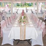 Raumdekoration, Vintage, Hochzeitstafel, Jute-Tischläufer