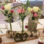 Baumstamm, Tischdekoration, Floristik