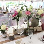 Baumstamm, Tischdekoration vintage, Floristik