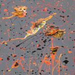21/13  -  60 x 50 cm  -  Bunt auf Grau  -  Lack/Öl/Leinwand