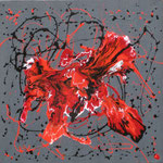 25/13  -  80 x 80 cm  -  Feuervogel  -  Lack/Öl/Leinwand