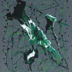 23/13  -  60 x 50 cm  - Grün auf Grau  -  Lack/Öl/Leinwand