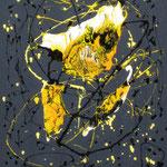 24/13  -  60 x 50 cm  -  Gelb auf Grau  -  Lack/Öl/Leinwand