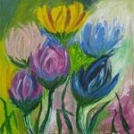 23-15  -  100 x100 cm  - Blüten 2  -  Öl - Leinwand