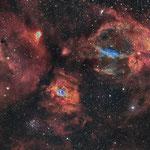 NGC7635, la nébuleuse de la bulle, H (42x600), O (15x600), S (5x600), juin 2017, Nicolas