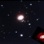 En vignette, détail de Eta Carinae par Hubble pour mieux voir les lobes.