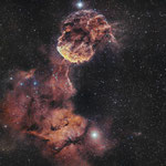 La nébuleuse de la Méduse, 27x600 (Ha), 24x600 (OIII), 12 et 13 mars, Nicolas