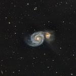 M51, L (34x300), RVB (9x300 chaque), Newton 200/1000 + CCD Atik One, 25 et 26 mars 2017, Julien