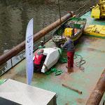 Ein sogenannter Stromkokons soll bei starken Abflüssen Fischen strömungsberuhigte Zonen bieten (Foto: K. Borggraefe).
