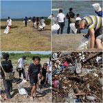 Hier haben wir am Lago Cocibolca Müll eingesammelt - 14 große Reissäcke voll!