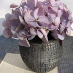 Raku-Vase mit Hortensien