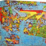"""この青い空 """"the blue sky"""" 2015 28x47cm oil on canvas"""