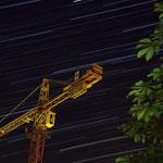 Sternspuren über Leinefelde,Baustelle beim Leinebad....am 25.07.2012...aufgenommen gemeinsam mit Thilo Skalei ,erstellt aus 188 Einzelaufnahmen