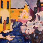"copia di ""Kochel, il cimitero e il presbiterio"", 1909 Vasilij Kandinskij"