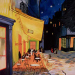 "copia di ""Esterno di caffè di notte"", 1888 Vincent Van Gogh"