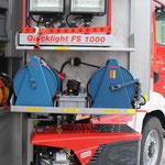 G2 Drehfach hinten: Sicherungstrupptasche, Strahler, Kabeltrommeln
