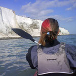 Clare kayaking between Kingsdown and St Margarets - it's the only way to get close to these cliffs