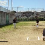 投球練習中