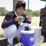 五味さん定番のピース(^^)