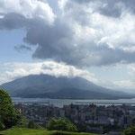 ホテルからの桜島 朝から噴火かな?