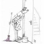 """Illustration zu """"Die Dame und das Paket"""" von Anja Martin aus """"Mann mit Hut"""""""