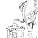 """Illustration zu """"Der Besuch der Elefanten"""" von Anja Martin aus """"Mann mit Hut"""""""