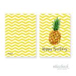 Klappkarte 'Ananas' | Best-Nr. MZG_08 | Außenseiten bedruckt | Falz lange Seite | 10x14 cm