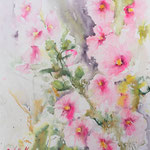 Hollyhocks, 15 in. x 11 in. - 38 x 28 cm - 280,00 Euro