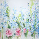 Larkspur and Roses -  24 in. x 18 in. - 61 x 46 cm - 240,00 Euro