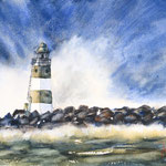 A Lighthouse with a Splash -  15 in. x 22 in. - 38 x 56 cm - 540,00 Euro