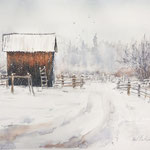 Barn in Winter16-  in. x 12 in. - 41 x 31 cm - 680,00 Euro
