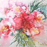 Amaryllis and a hint of Gold 16 in. x 12 in. - 41 cm x 31 cm - 360,00 Euro