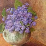 petit pot de violete huile sur toile lin 50x50cm