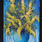 Mimosas acrylique sur toile coton 80x60