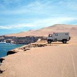 Im Nationalpark der Halbinsel Paracas müssen wir unsern Weg durch den Sand selber wählen
