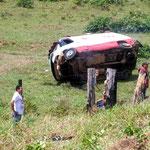 Auf der 110km langen asphaltierten Strasse in Brasilien, wurde unsere Fahrt durch einen tragischen Unfall unterbrochen
