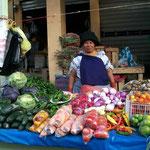 Marktfrau in traditioneller Tracht in Otavalo, Norden von Equador