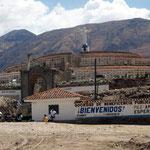 Der Friedhof von Yungay wurde vom Erdrutsch 1970 zur Häfte verschüttet, der Rest des Dorfes fast vollständig