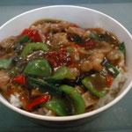 これは骨付き肉と野菜のあんかけ丼、モールの地下のフードコートで食べた、北京出身アメリカ人旅行者の女の子と共に