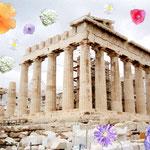 これはパルテノン神殿ね、キレイな場所でアテネの街も一望出来ます、プラカもいいよ