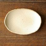 白釉オーバル皿(小) 18cm x 12.5cm