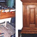 Garderobenschrank Restaurant 'Castell' Burg Wernberg vor- und nach der Restaurierung