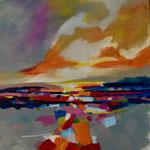 landscape 3   25 x 25 cm  Öl auf Papier