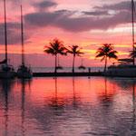 Endlich mal ein schöner Sonnenuntergang auf Raiatea