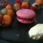 Cooking light, tasty and colorful. Summer fruits, raspberry macaron and vanilla ice cream