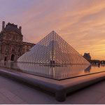 near key2paris: sunset of the Louvre's pyramid