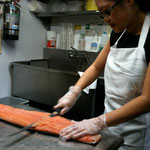 Preparing the salmon at the Village  tearoom