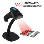 Hersteller-Foto des Handscanner inkl. Halter und Anschlusskabel an eine USB-Schnittstelle