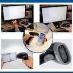 Hersteller-Foto des Handscanner: er ist für Barcodes (Strichcodes) und QCR-Barcodes (2D-Barcode) geeignet.