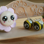 Kawaii Flower and Bee Earrings set